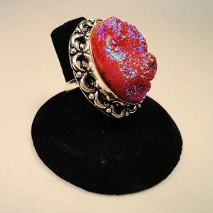 Pink Titanium Crystal Quartz Druse 925 Silver Ring